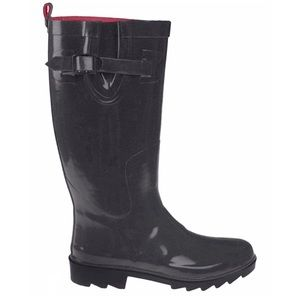 Capelli Solid Black Tall Rubber Rain Boots Size 6